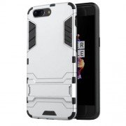Cool Guard Kickstand PC TPU Phone Back Case for OnePlus 5 - Silver