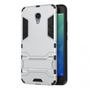 Solid PC + TPU Hybrid Case with Kickstand for Meizu m5 Note - Silver