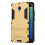 Solid PC + TPU Hybrid Shell with Kickstand for Meizu m5 Note - Gold
