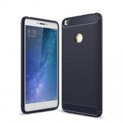 Carbon Fiber Texture Brushed TPU Cell Phone Cover for Xiaomi Mi Max 2 - Dark Blue
