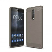 Carbon Fiber Texture Brushed TPU Mobile Phone Cover for Nokia 8 - Grey