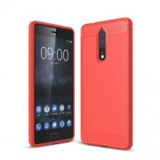 Carbon Fiber Texture Brushed TPU Mobile Phone Shell for Nokia 8 - Red