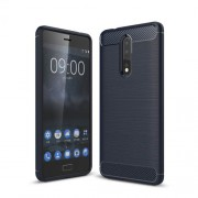 Carbon Fiber Texture Brushed TPU Back Casing for Nokia 8 - Dark Blue