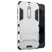 Υβριδική Θήκη Συνδυασμού Σιλικόνης TPU και Πλαστικού με Βάση Στήριξης για Nokia 5 - Ασημί