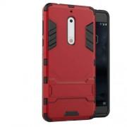 Υβριδική Θήκη Συνδυασμού Σιλικόνης TPU και Πλαστικού με Βάση Στήριξης για Nokia 5 - Κόκκινο