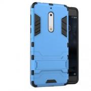 Υβριδική Θήκη Συνδυασμού Σιλικόνης TPU και Πλαστικού με Βάση Στήριξης για Nokia 5 - Μπλε