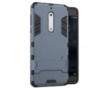 Cool Guard Plastic TPU Back Cover with Kickstand for Nokia 5 - Dark Blue