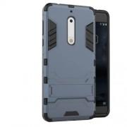 Υβριδική Θήκη Συνδυασμού Σιλικόνης TPU και Πλαστικού με Βάση Στήριξης για Nokia 5 - Σκούρο Μπλε
