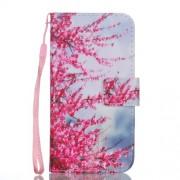 Δερμάτινη Θήκη Πορτοφόλι με Βάση Στήριξης για iPhone X - Κλαδιά με Μωβ Άνθη