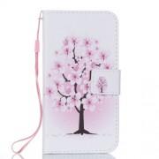 Δερμάτινη Θήκη Πορτοφόλι με Βάση Στήριξης για iPhone X - Ροζ Ανθισμένο Δέντρο