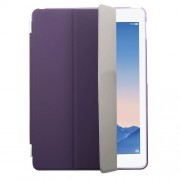 Purple Tri-fold  Leather Single Front Smart Cover + Back Plastic Case for iPad Air 2