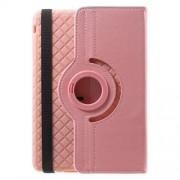 Twill Grain PU Leather Cover w/ 360 Degree Rotatory Stand for iPad Mini / Mini 2 / Mini 3 - Pink