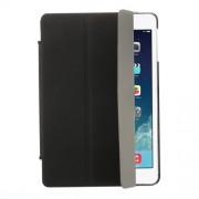 Tri-fold Stand Leather Cover + Rubberized PC Back Case for iPad Mini / iPad Mini Retina - Black