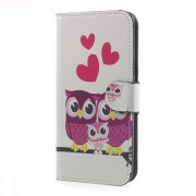 Water Transfer Printing Leather Wallet Stand Mobile Case for Samsung Galaxy J5 (2017) EU Version - Lovely Owl Family