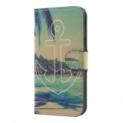 Water Transfer Printing Leather Wallet Stand Folio Shell for Samsung Galaxy J5 (2017) EU Version - Anchor Seaside Scene
