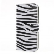 Water Transfer Printing Leather Card Holder Stand Cell Phone Case for Samsung Galaxy J5 (2017) EU Version - Zebra Texture