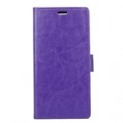 Crazy Horse Wallet Leather Case with Stand for LG X mach - Purple
