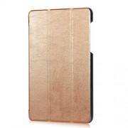 Δερμάτινη Θήκη Βιβλίο Tri-Fold με Βάση Στήριξης για Lenovo Tab 3 7 Essential 710F - Χρυσαφί