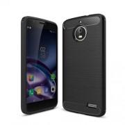 Θήκη Σιλικόνης TPU Carbon Fiber Brushed για Motorola Moto E4 (Ευρωπαϊκή Έκδοση) - Μαύρο