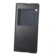 Flip Leather Cover Case with View Window for Sony Xperia XA1 Ultra - Black