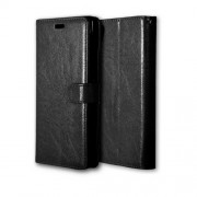 For Sony Xperia XA Ultra Crazy Horse Wallet 3 Card Slots Leather Stand Case - Black