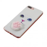 Kneading Squishy 3D Silicone Cat Paw TPU Case Shell for iPhone 7 Plus / 8 Plus - Cat Pattern