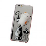 Squishy 3D Pinch Silicone Cat TPU Back Case for iPhone 6s 6 - Black and White Cat