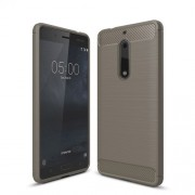 Carbon Fibre Brushed TPU Protection Case for Nokia 5 - Grey