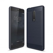 Carbon Fibre Brushed TPU Gel Case for Nokia 5 - Dark Blue