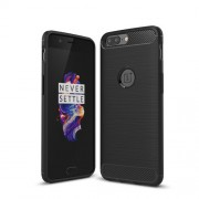 Carbon Fiber Texture Brushed TPU Back Case for OnePlus 5 - Black