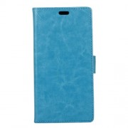 Crazy Horse Card Slot Leather Stand Phone Casing for OnePlus 5 - Blue