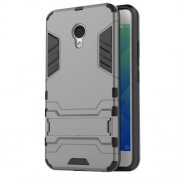 Solid PC + TPU Combo Back Case with Kickstand for Meizu M5 - Grey