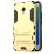 Solid PC + TPU Combo Kickstand Back Cover for Meizu M5 - Gold