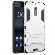 Υβριδική Θήκη Συνδυασμού Σιλικόνης TPU και Πλαστικού με Βάση Στήριξης για Nokia 6 - Ασημί