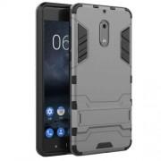 Υβριδική Θήκη Συνδυασμού Σιλικόνης TPU και Πλαστικού με Βάση Στήριξης για Nokia 6 - Γκρι