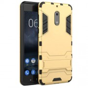 Cool Guard Hybrid PC TPU Mobile Casing with Kickstand for Nokia 6 - Gold