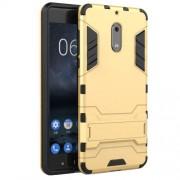 Υβριδική Θήκη Συνδυασμού Σιλικόνης TPU και Πλαστικού με Βάση Στήριξης για Nokia 6 - Χρυσαφί