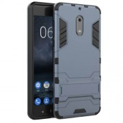 Cool Guard Kickstand Hybrid Plastic TPU Back Case for Nokia 6 - Dark Blue