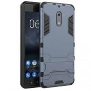 Υβριδική Θήκη Συνδυασμού Σιλικόνης TPU και Πλαστικού με Βάση Στήριξης για Nokia 6 - Σκούρο Μπλε