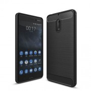 Carbon Fiber Brushed TPU Case for Nokia 6 - Black