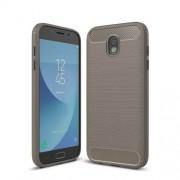 Carbon Fiber Texture Brushed TPU Phone Cover for Samsung Galaxy J5 (2017) EU Version - Grey
