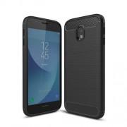 Θήκη Σιλικόνης TPU Carbon Fiber Brushed για Samsung Galaxy J3 (2017) Ευρωπαϊκή Έκδοση - Μαύρο