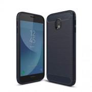 Θήκη Σιλικόνης TPU Carbon Fiber Brushed για Samsung Galaxy J3 (2017) Ευρωπαϊκή Έκδοση - Σκούρο Μπλε