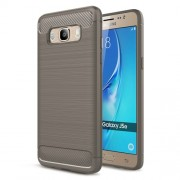 Carbon Fibre Brushed TPU Shell Case for Samsung Galaxy J5 (2016) SM-J510 - Grey