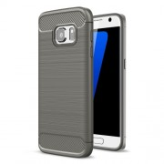 Carbon Fibre Brushed TPU Shell Case for Samsung Galaxy S7 SM-G930 - Grey