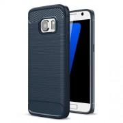 Carbon Fibre Brushed TPU Cover Case for Samsung Galaxy S7 SM-G930 - Dark Blue