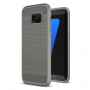 Carbon Fibre Brushed TPU Shell Case for Samsung Galaxy S7 edge SM-G935 - Grey