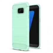 Carbon Fibre Brushed TPU Gel Case for Samsung Galaxy S7 edge SM-G935 - Cyan