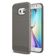Carbon Fibre Brushed TPU Shell Case for Samsung Galaxy S6 edge SM-G925 - Grey
