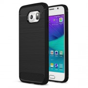 Carbon Fiber Texture Brushed TPU Phone Case for Samsung Galaxy S6 G920 - Black